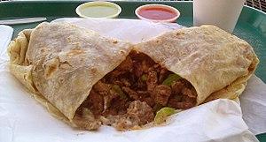 Burrito - Contents of a carne asada burrito