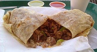 Carne asada - Image: Carne asada burrito
