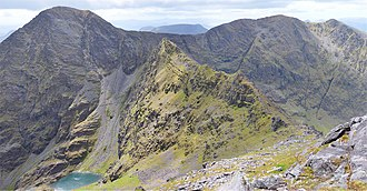 Beenkeragh - View from Beenkeragh of the Beenkeragh Ridge (with The Bones, in green, at its centre) to Carrauntoohil (left); back and right is Caher Ridge showing Caher East Top, and Caher West Top.