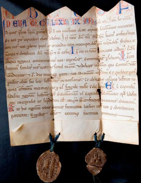 File:Carta de la Clerecía de Ledesma. 1252.jpg