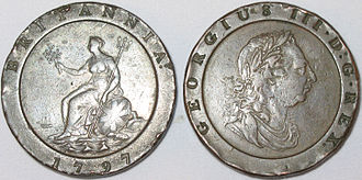 Soho Mint - Cartwheel twopence coins made at the Soho Mint in 1797.