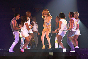 "Celine Dion - Céline Dion on stage with her dancers performing ""River Deep – Mountain High"" on the Taking Chances World Tour in September 2008"