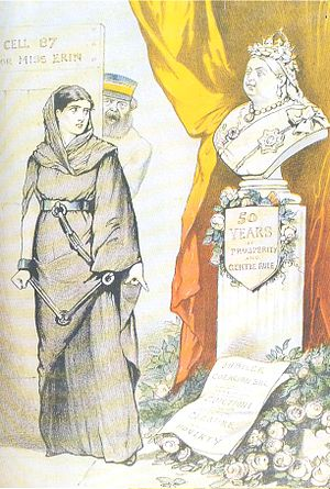"Fenian Brotherhood - A cartoon from the 1887 to mark the occasion of Queen Victoria's golden jubilee. After eighty seven years since the Act of Union, Ireland was said to be ""distracted, disloyal and impoverished."" ."""