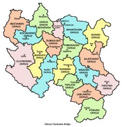 karta srbije okruzi Upravni okruzi Srbije – Wikipedija karta srbije okruzi