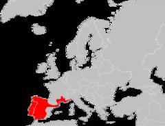 Mapa de distribución de Chalcides striatus.