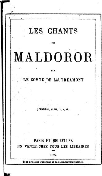 1874 in poetry - Title page of Les Chants de Maldoror by Comte de Lautréamont