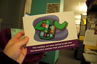 """Alternative giving - A charity gift card, describing its donation as an alternative to a """"sweater you'd never wear"""""""