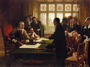 Oliver Cromwell e il Suo Segretario John Milton, Ricevono una Delegazione Alla Ricerca d'Aiuto per i Protestanti Svizzeri, di C. W. Cope, 1872, Collezione privata