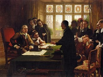 Charles West Cope - Oliver Cromwell and His Secretary John Milton, Receiving a Deputation Seeking Aid for the Swiss Protestants (1872)