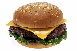 A hamburger is a famous food in the United States.