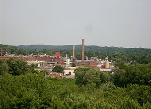 Chef Boyardee - The Chef Boyardee factory in Milton, Pennsylvania, as seen from across the West Branch Susquehanna River at Central Oak Heights.