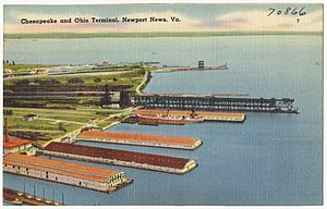 Chesapeake and Ohio Railway - Postcard showing the Chesapeake and Ohio Terminal in Newport News, c. 1930–1945