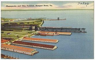 Chesapeake and Ohio Railway - Postcard showing the Chesapeake and Ohio Terminal in Newport News, c. 1930–1945