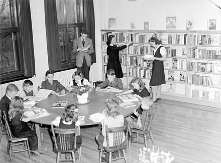 A children's library in Montreal, Quebec, Canada in 1943 Children. Children's Library in N.D.G BAnQ Vieux-Montreal P48S1P08742.jpg