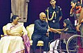 Children tying 'Rakhi' on the President, Shri Ram Nath Kovind's wrist, on the occasion of 'Raksha Bandhan', at Rashtrapati Bhavan, in New Delhi on August 07, 2017. Mrs. Savita Kovind, First Lady of India is also seen (2).jpg