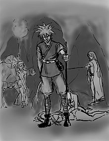 A gray scale sketch of a man standing in a cave. Additional characters are in the background.