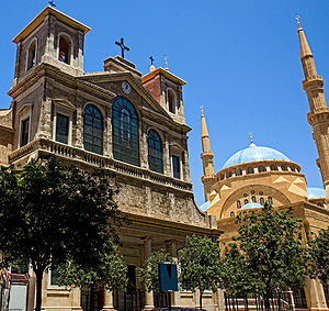 Religion in the Middle East - Saint George Maronite Cathedral and the Mohammad Al-Amin Mosque, Beirut. 40.4% in Lebanon are Christians representing the mosaic of the Middle East, and contributing heavily in the Media, Politics, Entertainment, Banking... sectors in Lebanon and the World.
