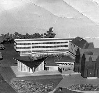 Church Army Chapel, Blackheath - 1964 model of site showing spire fixed to centre of roof