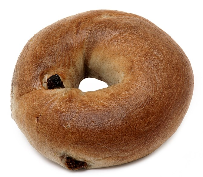 English: Another cinnamon raisin bagel. This w...