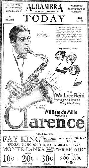 Clarence (1922 film) - Poster for the film from a newspaper.