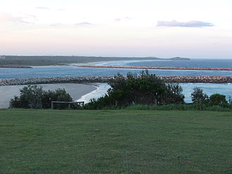 Yamba, New South Wales - View of coastline to the North of Yamba, taken from Clarence Head lighthouse
