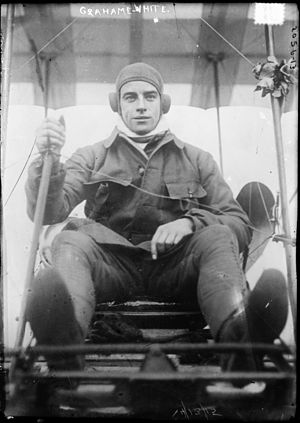 1910 London to Manchester air race - Image: Claude grahame white on aeroplane