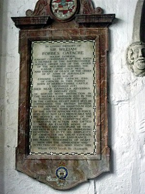 William Forbes Gatacre - Memorial to William Forbes Gatacre, All Saints Church, Claverley, Shropshire, in the South Gatacre chapel.