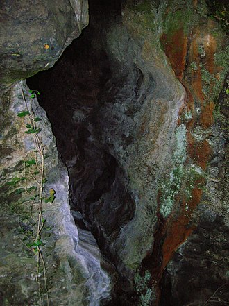 Tunnels in popular culture - One of the entrances to the Cleeves Cove cave system in Scotland, known as the Elfhame