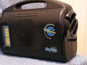 Batteryless radio - A modern clockwork radio with crank in winding position