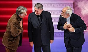 Reza Kianian - Kianian with Mohammad Javad Zarif at Closing ceremony of 35th Fajr International Film Festival