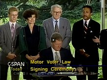 Cloward and Piven at 1993 Motor Voter Signing Ceremony.jpg