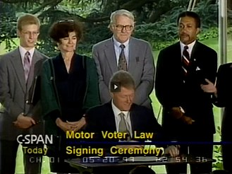 Frances Fox Piven - Piven with her husband Richard Cloward at the Motor Voter signing ceremony (1993)