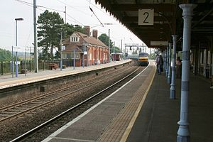 Manningtree railway station - A train approaching platform 2 in 2013