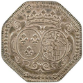 Coin showing the arms of Marie Adélaïde of Savoy while Duchess of Burgundy, 1706.png