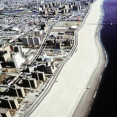 Aerial view of the beach at Coney Island. This photograph was taken prior to 2001, as evinced by the fact that KeySpan Park does not appear to the left of the Parachute Jump.