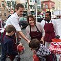 Congresswoman Pelosi volunteers at St. Anthony's Dining Room (23054704983).jpg