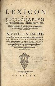 Lexicon sive dictionarium Graecolatinum