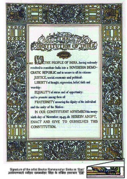The Constitution of India is the longest written constitution for a country, containing 444 articles, 12 schedules, numerous amendments and 117,369 words. Constitution of India.jpg