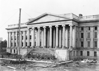 Image of the construction, showing construction of the front steps. Construction of the United States Treasury Building, Washington, D.C., showing construction of the front steps.tif