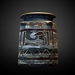 Container with bird eating a fish-Sb 2852