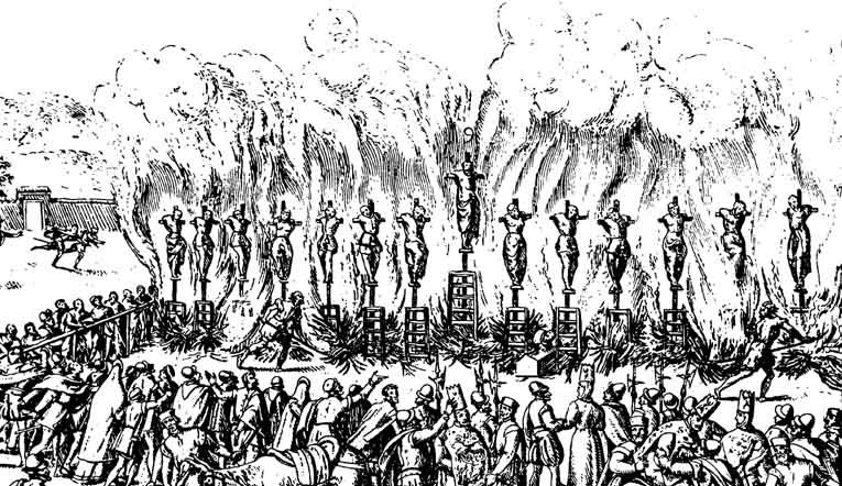 Contemporary illustration of the Auto-da-fe held at Validolid Spain 21-05-1559.
