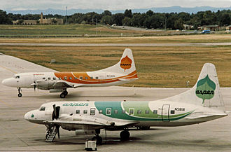 Convair CV-240 family - Two Convair 580s of the Aspen, Colorado-based Aspen Airways at Stapleton International Airport in Denver, US in 1986