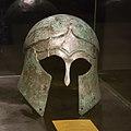 Corinthian helmet, 5th century B. C., Bastar (Tirana). - Bronze, 23 cm. Archaological Museum of Tirana.jpg