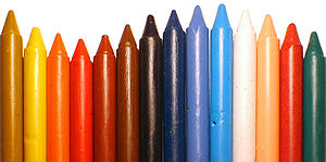 Wax crayons.
