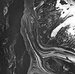 Crillon Glacier, valley glacierpartially covered in rocks and debris, August 24, 1963 (GLACIERS 5324).jpg