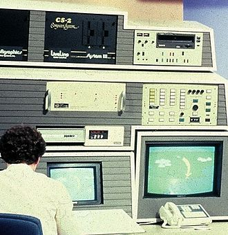 Cromemco Dazzler - Cromemco CS-2 microcomputer with Super Dazzler in television broadcast control room.