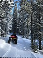 Cross Country Ski Trail Grooming with a ATV and a Ginzugroomer in the trees.jpg