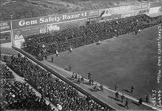 "Ebbets Field - Ebbets left field corner in 1920 World Series, with temporary bleachers sitting on the ""terrace""."