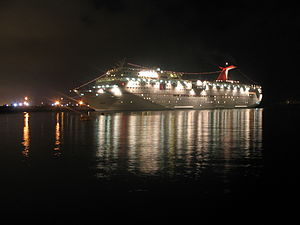 Ensenada, Baja California - A  cruise ship docked in Ensenada's Port