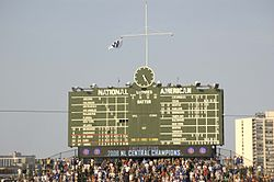 Cubs Win flag on pennant clinching day 2008.jpg